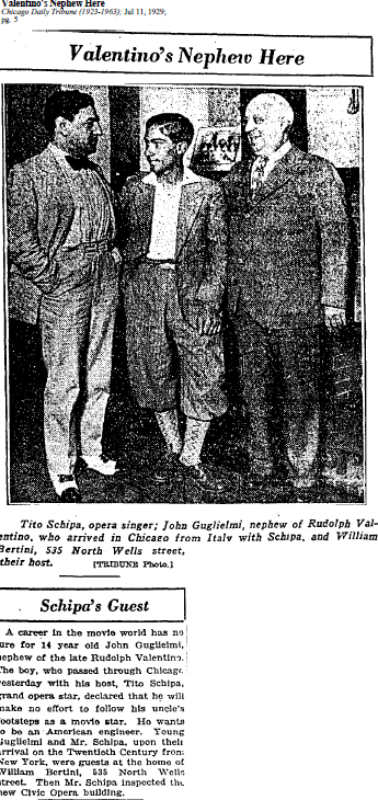 11 Jul 1929 - Valentino's Nephew visits Chicago