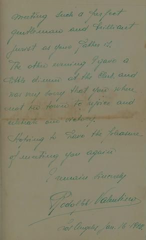 16 Jan 1920 - Rudolph Valentino Letter