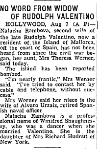 8 Aug 1936 - No Word from Rudolph Valentino Widow