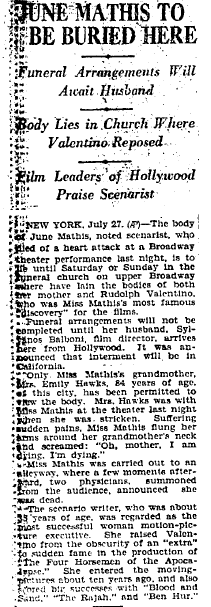 1927 June mathis to be buried.PNG